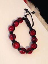 Glass Enamel Red And Black Swirl Bead Adjustable Pull Tight Bracelet #Y1