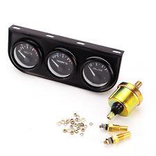 52mm Triple Gauge Kit Set 3in1 Voltmeter Meter Water Temp Oil Pressure Car Meter
