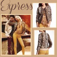 EXPRESS Leopard Cheetah Tiger Animal Print Pony Calf Hair Faux Fur Coat Jacket S