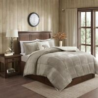 New Down Alt Navy Taupe Reverse 4 pcs Soft Sherpa Comforter King Queen Set