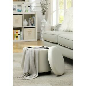Convenience Concepts Designs4Comfort Round Storage Ottoman, White - 163523W