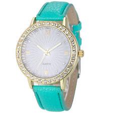 8 Colors Geneva Women's Golden Diamond Watch Strap Leather Quartz Wrist Watches