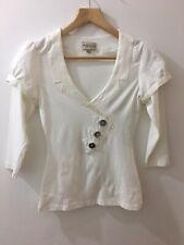 Karen Millen Top, Cotton With Silk Trim, Size UK6, Cream