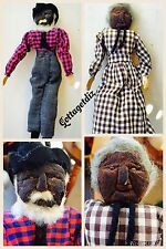 RARE COUNTRY TOY PRIMITIVE VINTAGE PAIR OF FOLK ARTS PRUNED FACED DOLLS CLOTH