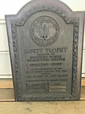 Old 1936-39 Bronze Safety Trophy Plaque Baltimore Gas & Electric Light & Power