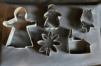 Vintage Cookie Cutters Lot Of 10 Metal Misc Shapes, Cow, Duck, Owl, Church