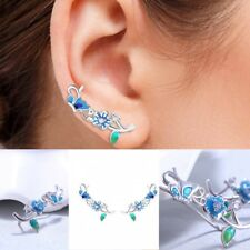Blue Flower Sterling Silver Climber Crawler Cuff Hook Earring Stud Free Shipping