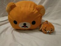Rilakkuma Plush Bear Lot Pillow Cushion & Keychain San-X Stuffed Animal Toy
