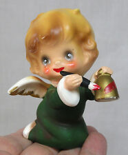 Vintage Josef Christmas Angel Painting a Bell Red She Holds a Brush and Bell