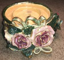Rare Heather Goldminc Christmas Collection 7� Round Candle Holder Roses Blue Sky