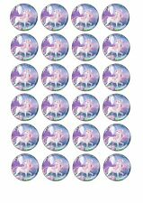 24 x UNICORN Cupcake Cake Toppers EDIBLE Wafer Rice Paper PRETTY PINK & PURPLE