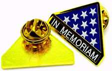 In Memoriam Folded Flag Military Veteran Hero Hat Pin