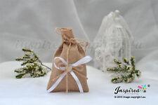 25 x sacchetti di iuta favore multifunzione in legno bianco Cuore Festa di nozze regali dolci