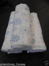 Blue Flowers On White Burp Cloths Set of 3 - Towelling Backed GREAT GIFT IDEA!!