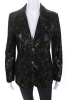 Blu Ice Womens Metallic Brushed Leather Blazer Jacket Black Gold Size XS