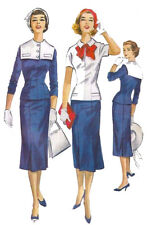 Vintage Années 1950 sewing pattern Nautique Marin deux pièces robe Wiggle Bow B 33