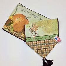 """Joyful Harvest ~ Autumn Fall Thanksgiving 72"""" Tapestry Table Runner"""
