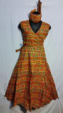 women's Clothing African Kente Print Wrap around Maxi Long Derss Free Size Pr #1