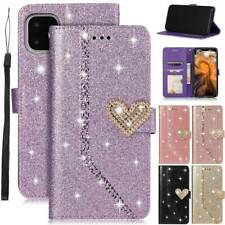 For iPhone 5 6 7 8 XR 11 Pro Max Leather Bling Pattern Flip Wallet PU Case Cover