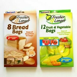 Stay Fresh Bags Seal pack Fruit & Vegetable Bread Storage Bags Fresh 2 Sizes New