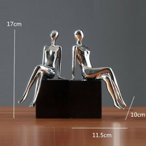 Modern Sitting Lady Bookend Statue Sculpture Tabletop Home Office Art Decoration