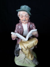 Porcelain Bisque Handpainted Old Man Hat Sitting Reading Newspaper Marked T4-0D