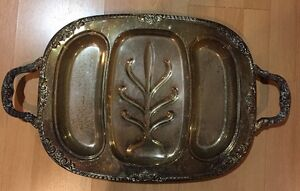 Vintage Platter Ornate Silverplate Tray Large 14x18 Inches Elegant Carving Plate