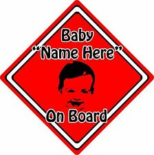 Personalised Baby/Child On Board Car Sign ~ Baby Face Silhouette ~ Neon Red