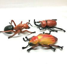 Large Insect Toy Figures Lot, Plastic, Cockroach, Beetle & Ant, 3 Pieces