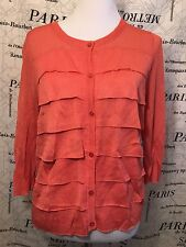 Talbots Womens Petite L Sweater Pink Ruffle Front 3/4 Sleeve NWT