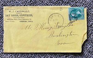 1880s 3c Fancy B Cancel WJ Caldwell Dry Goods Grocer Ad Corning to Burlington IO