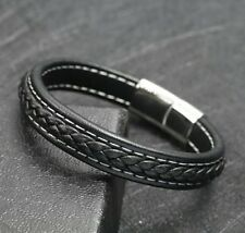 Men's Genuine Black Leather Bracelet ~ Stainless Steel Magnetic Clasp ~ 21.5cm