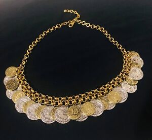 Women's Oxidized gold metal coin necklace .