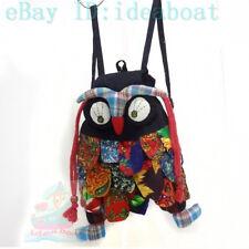 Black Fabric Sequin Festival Google Eyes owl Shape Knapsack Backbag Purse Small