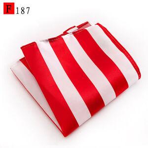 Pocket Square Handerchief White Red Green Blue Yellow Orange Stripe Patterned