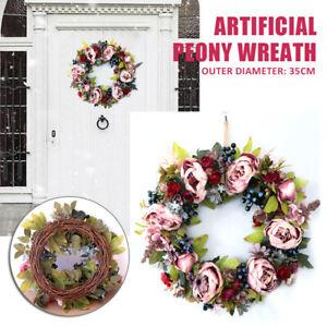 35cm Artificial Flowers Wreath Peony Garland Door Wreath Spring Summer Round  l