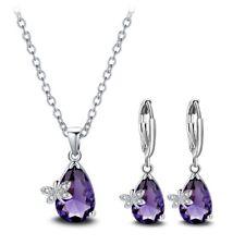 2 Pcs Lots Butterfly Mystical Purple Amethyst Gemstone Silver Pendant Earrings