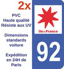 Sticker Autocollant plaque d'immatriculation Département 92 Hauts de Seine IDF
