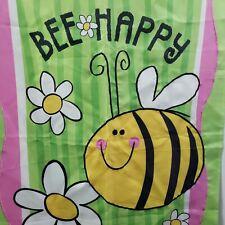 "Bee Happy Garden Flag Nylon Wall Hanging Green Pink Yellow Bethany 28"" x 39"""