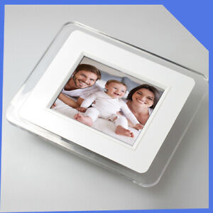 "vintage retro White Glass Wall Hanging Mounted Digital Photo Frame 3.5"" SD"