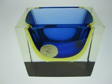 Murano Sommerso Block Bowl in Blue, Amber & Clear. Ref 371 MIDCENTURY