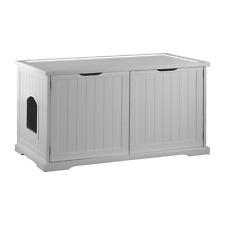 Hidden Cat Litter Box and Bench White