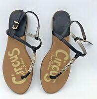 NWOT SAM EDELMAN CIRCUS Corinne Sz 9.5 T-Strap Black Thong Embellished Sandals