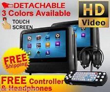 "2018 DUAL 9"" DIGITAL TOUCHSCREEN HEADREST DVD PLAYER MONITORS HEADPHONES & GAME"