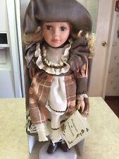 "Vintage Le Jardine Hand Made Porcelain Doll 17"" in Original Box ""Kelly"" & Stand"