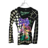 Desigual Womens Laura Tee Shirt Size XS Mixed Print Multicolor Long Sleeve Top