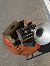 Edison Phonograph With Cylinders And Horn