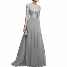 Women Ball Prom Gown Long Cocktail Dress Formal Wedding Bridesmaid Gray 3XL