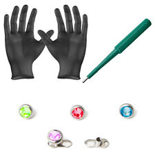 Piercing Kit Dermal Anchors and Tops Dermal Bases Puncher and Gloves 8 Pieces