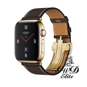 Series 6 Hermes Apple Watch Single Tour Ebene Deployment 24K Gold Plated 44mm